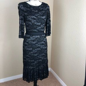 David Meister Black Grey Lace Ruffle Hem Dress 4